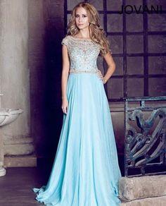 Long light blue prom dress 2014 by Jovani with strapless jeweled bodice