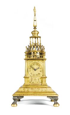 c1610 A gilt-copper renaissance turmchenuhr, South German, circa 1610 with extensive later alterations Estimate  3,000 — 5,000  GBP 5,030 - 8,383USD  LOT SOLD. 5,250 GBP (8,802 USD) (Hammer Price with Buyer's Premium)