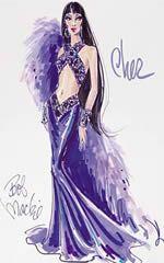 Bob Mackie's sketch of Cher Barbie for Timeless Treasures