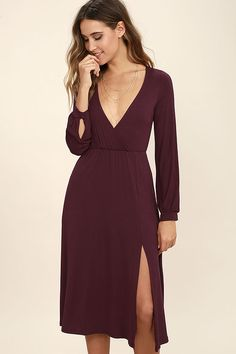 We've got plans tonight, and the Right for Me Plum Purple Long Sleeve Midi Dress fits in perfectly! Soft jersey knit shapes a surplice bodice and long sleeves with button cuffs. Elasticized waist tops a midi-length skirt with sexy side slit.