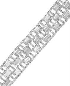 Charter Club Silver-Tone Crystal Stone Flex Bracelet