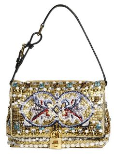 Dolce and Gabbana sequin flower bag with golden sequins and gold padlock