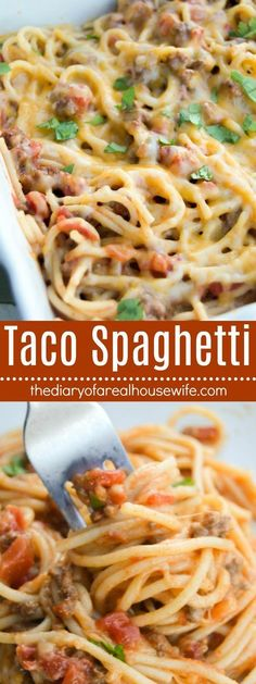 NEVER Eating Spaghetti any other way!! This was so good and my entire family loved it. You must try this easy dinner recipe, Taco Spaghetti.