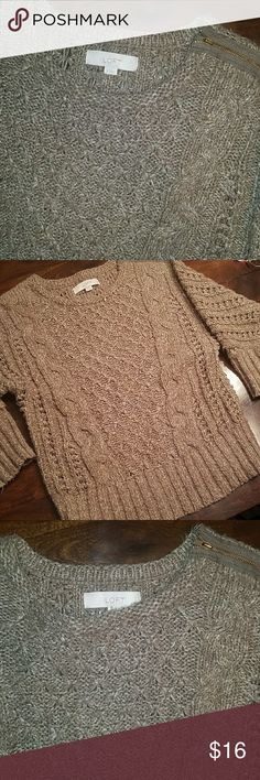 Loft brown sweater Perfect condition. No snags or piling. Cute zipper at left shoulder. Warm and comfy! LOFT Sweaters