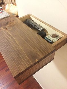 Rustic wood floating shelf with hidden compartment & magnetic