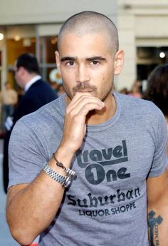 Not really a fan of the no hair, but still looks good. Bald With Beard, Bald Man, Hair And Beard Styles, Short Hair Styles, Shaved Head Styles, Bald Men Style, Colin Farrell, Bald Heads, Haircuts For Men