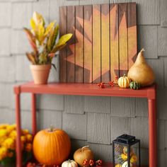 Diy Maple Leaf Wall Art Outdoor Table Pumpkins Gourds Crotons Mums