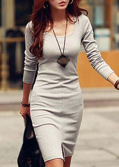 Charming Grey Round Neck Long Sleeve Dress for Lady