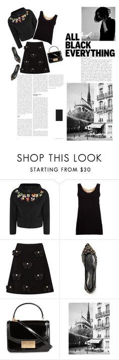 """""""On A Rainy Sunday Afternoon"""" by mgoslin on Polyvore featuring Boutique Moschino, Chloé, Oscar de la Renta, Tory Burch, allblackoutfit, embellishedblackjacket, embellishedblackskirt and embellishrdshoes"""