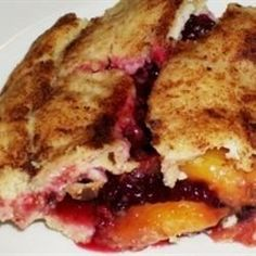 Using pre-made crusts, you can put together this delicious pie fairly quickly with some fresh peaches and blackberries, sugar, cinnamon, nutmeg, and a little cornstarch.