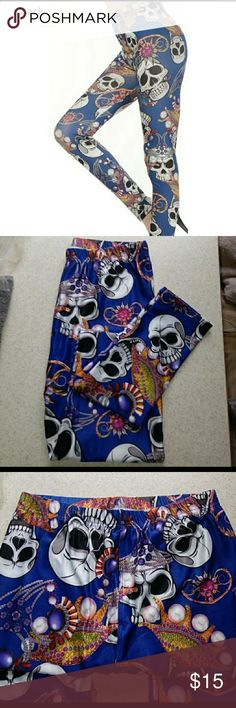 💀NEW LEGGINGS💀 Full length polyester & spandex fun skull leggings. One Size New in package Pants Leggings
