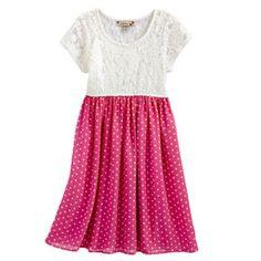 Speechless Lace Polka-Dot Dress - Girls 7-16