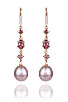 Beautiful mix of gems. .07ctw Diamond, Tourmaline & Pearl Dangle Earrings