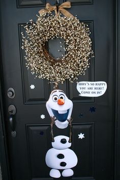 Frozen Party -tons of cute ideas, with links to everything. Olaf Welcome, snowflake hair clips, games, food