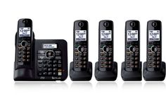 5 Handsets KX-TG6641 DECT 6.0 Digital wireless phone Black Cordless Phone with  Answering system