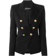Balmain Classic Blazer ($2,315) ❤ liked on Polyvore featuring outerwear, jackets, blazers, black, long sleeve jacket, balmain, balmain jacket, blazer jacket and peaked lapel blazer