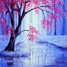 Weeping flowering pink tree on icy snowy landscape. Traditional Art by Ann Marie Bone Art And Illustration, Guache, Acrylic Art, Tree Art, Beautiful Paintings, Simple Paintings, Traditional Art, Painting Inspiration, Creative Art