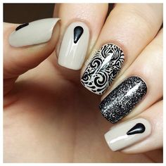 Beautiful nails 2016, Black and beige nails, Evening dress nails, Fashion shellac nails, Glitter nails ideas, Pattern nails, Spring nail designs, Spring nail ideas
