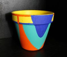 Abstract painted flower pot