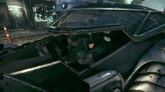 Batman Arkham Knight: Original Arkham Asylum Batman skin in Original Arkham Asylum Batmobile.