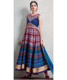 Beautiful Blue And Multi-Color Satin Anarkali Suit.