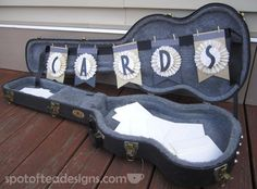 DIY Guitar Case Card Box: Think outside the box and use a sentimental object, like a guitar case, to hold cards at your #wedding.