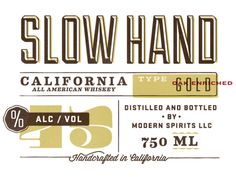 Slow Hand Whiskey Label  by Kyle Anthony Miller
