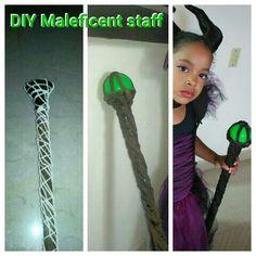 DIY maleficent staff Maleficent Halloween Costume, Movie Halloween Costumes, Toy Story Costumes, Maleficent Horns, Halloween Class Party, Halloween Kids, Dark Fairy Costume, Mad Hatter Costume Kids, Werewolf Costume