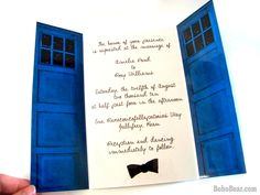 @Karen Jacot Sindayen: just in case it ever comes in handy! ;)    Doctor Who Inspired TARDIS Wedding Invitations, Blue Police Box Invites for Geek Weddings. $10.00, via Etsy.