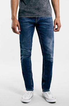Topman+Slim+Fit+Stretch+Denim+Jeans+(Mid+Blue)+available+at+#Nordstrom