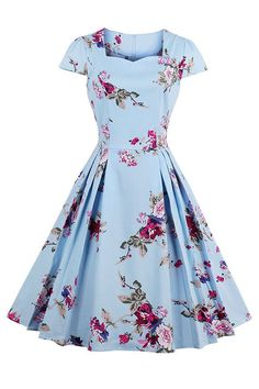 The Atomic Light Blue Floral Print Swing Dress features a classic light blue swing dress with an A-line design, floral print pattern, fitted bodice with short sleeves, sweetheart neckline, and a concealed back zipper. This dress is perfect for you everyday casual vintage look.