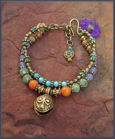 Happy JINGLE BRACELET brass jingle bell charm Hippie by GPyoga, $53.00