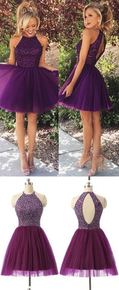 2016 New Arrival Open Back Purple Tulle Short Prom Dresses Homecoming Dress High Neck Halter Bodice Grape Mini Wedding Party Prom Gowns