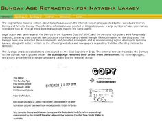 Retraction letter written by Dennys to The Sunday Age when they apologised to Natasha Lakaev for their false comments on the internet