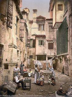 Old Venetian courtyard, Venice, Italy