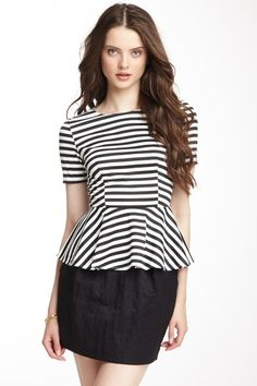 Striped Short Sleeve Peplum Top