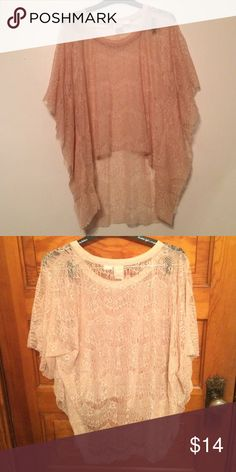 BILLABONG Nude Lace Top Beautiful, Excellent Condition!! So many different looks depending on what you wear underneath.    84% Nylon 16% Cotton  ⭐️save 30% off ANY two items!!! Billabong Tops Blouses