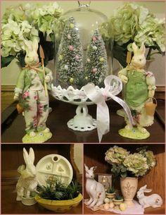 idee hasen figuren haus ostern hortensien kunstgras