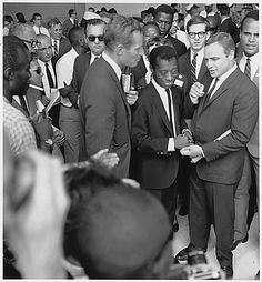 Charlton Heston, James Baldwin, and Marlon Brando at Civil Rights March in Washington, D.C. by Unknown Artist
