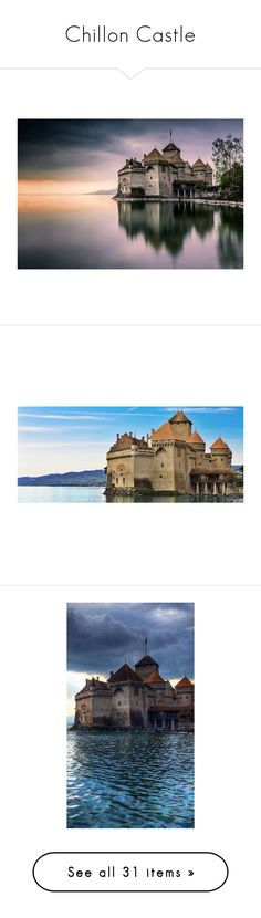 """""""Chillon Castle"""" by savagedamsel ❤ liked on Polyvore featuring backgrounds, fantasy, photos, home, home decor, wall art, outdoor wall art, photo wall art, outdoor home decor and outside wall art"""