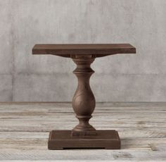 Monastery Side Table:Balustrade tables like these were once part of life in medieval, monasteries. Today, our reproduction is true to the original& hand-hewn style and trestle design. Diy Table, Dining Table, Table Bases, Pedestal Side Table, Entry Tables, Side Tables, Barn Wood Crafts, Indoor Outdoor Rugs, Home Decor Kitchen