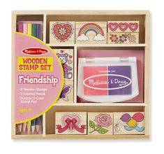 Friendship Stamp Set by Melissa and Doug contains 9 wooden stamps, 5 colored pencils, and a stamp pad in a wooden box. For ages 4 and up. Cute Art Projects, Bff, Lego, Alphabet Stamps, Wooden Alphabet, Stamp Pad, Melissa & Doug, Friendship Gifts, Craft Storage