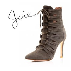 """New Joie """"Jelka"""" booties - cinder These retailed for $425 on the Joie website . And are still currently being sold online through shopbop . These are in new condition . Size 9 and are true to size . The eu size is 39.5 and the size sticker says 9. I tried them on and they do fit like a 9. Lace up adjustable heeled boots . Will bundle for 10% off heel height -3.75"""" Joie Shoes Heeled Boots"""