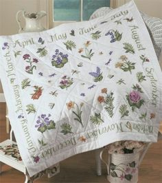 Donna Dewberry Year Of Flowers Lap Quilt Stamped Cross Stitch Kit with floss