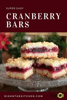 Cranberry Bars are rich, buttery and so easy to make. Perfect for the holidays a… Cranberry Bars are rich, buttery and so easy to make. Perfect for the holidays and a great way to use up any leftover fresh cranberries or cranberry sauce. Party Desserts, Christmas Desserts, Just Desserts, Delicious Desserts, Christmas Cookies, Health Desserts, Christmas Decorations, Holiday Baking, Christmas Baking