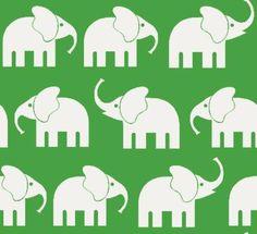 Baumwoll Stoff Grün mit Elefanten