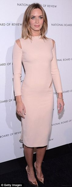 Both ends of the spectrum: Anne Hathaway and Emily Blunt were polar opposites at the National Board Of Review Awards held at Cipriani 42nd Street on Tuesday night in New York