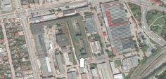 Widok z góry (zaznaczony obszar fabryki) ze stronki firmy ktora zajmuje się wycenami nieruchomości