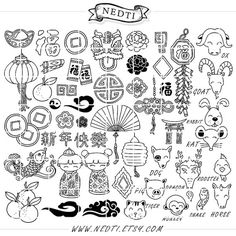 Chinese New Year Clipart Chinese Zodiac Hand Drawn Clip by Nedti