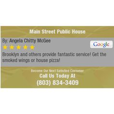 Brooklyn and others provide fantastic service! Get the smoked wings or house pizza!